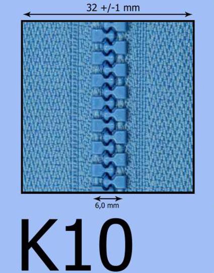 K10 kosticový zips (zdrhovadlo)