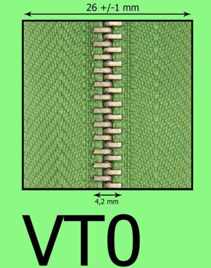 VT0 kovový zips (zdrhovadlo)